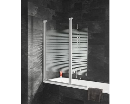 Pare-baignoire Schulte ExpressPlus EP1653 04 72 140 2 parties décor bandes transversales largeur 1140mm