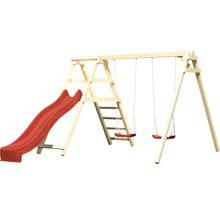 Balançoire double AKUBI Felix avec portique d''escalade et toboggan rouge-thumb-1