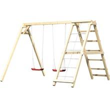 Balançoire double AKUBI Felix avec portique d''escalade et rampe avec filet-thumb-2