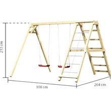 Balançoire double AKUBI Felix avec portique d''escalade et rampe avec filet-thumb-5