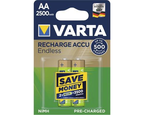 Pile Varta Endless Energy AA-Mignon 2500mAh préchargées sans effet mémoire jusqu''à 500charges 2pièces