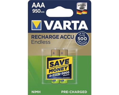 Pile Varta Endless Energy AAA-Micro 950mAh préchargées sans effet mémoire jusqu''à 500charges 2pièces