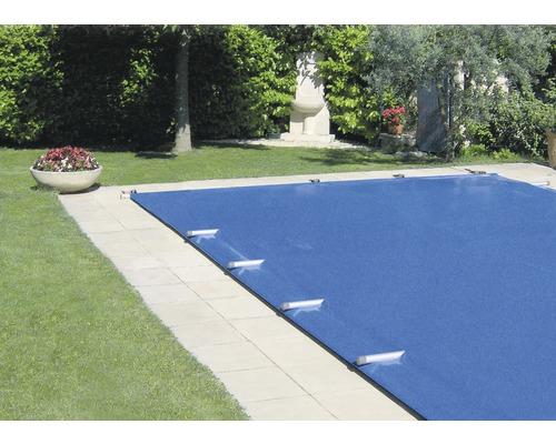 Bâche de sécurité 870 x 470 cm plastique pour piscines enterrées bleu