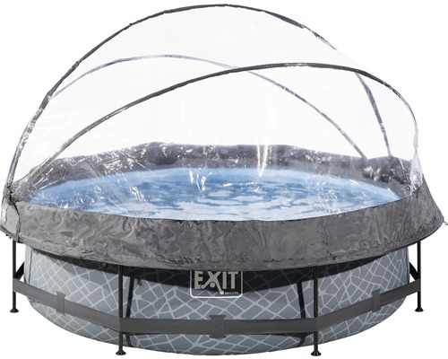 Kit piscine hors sol tubulaire EXIT StonePool rond Ø 300 cm avec épurateur à cartouche et bâche aspect pierre