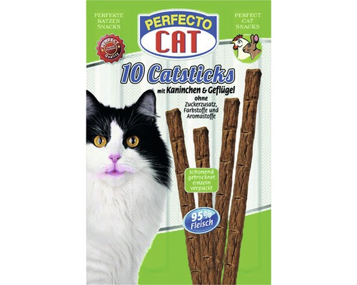 Friandises pour chats PERFECTO CAT Catsticks Lapin&Poulet10morceaux