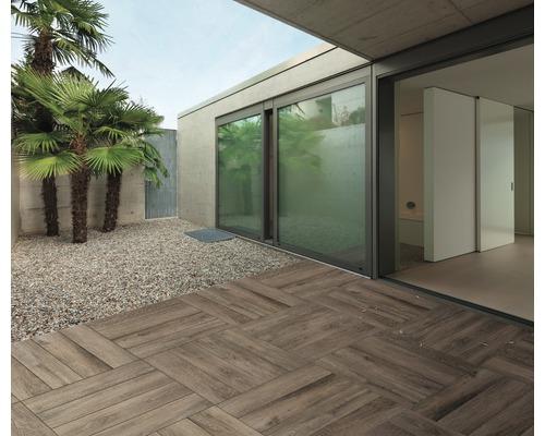 Dalle De Terrasse En Grès Cérame Fin Flairstone Wood Teck 120x30x2cm Bords Rectifiés