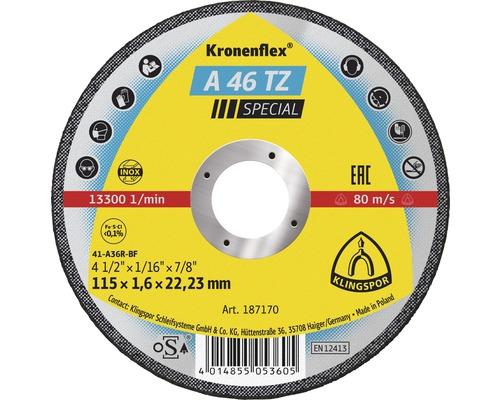 Disque à tronçonner INOX Klingspor A 46 TZ Spécial Ø 115x22.23 mm
