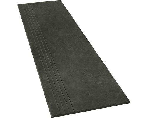 Marche en grès cérame fin Hometec black mat 30x120cm