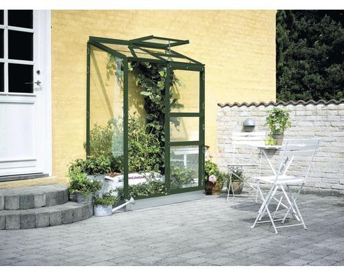 Serre adossée Halls Altan 2 verre incolore 3mm 132x69cm vert