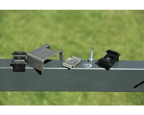 Set de transformation de poteaux en poteaux d''angle pour clôture à grillage double noir