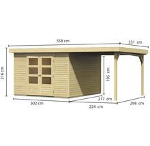 Abri de jardin Karibu Kodiak 6 en kit avec toit en appentis, 525x306b cm naturel-thumb-3