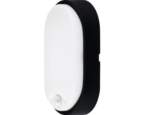 Applique murale LED à capteur IP54 10W 700 lm 4000 K blanc neutre ovale blanc/noir hxlxp 212/119/60,5 mm