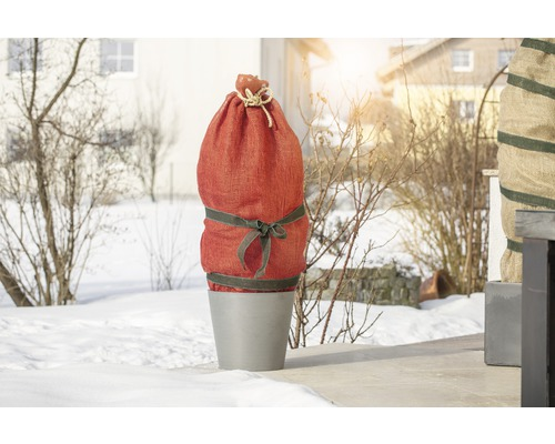 Tissu naturel en jute FloraSelf 5x1 m rouge