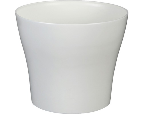 Pot de fleurs Tulipan gloss plastique Ø13 H10,9cm blanc-0