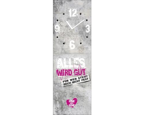 Horloge murale en verre «Alles Wird Gut» 20x60cm