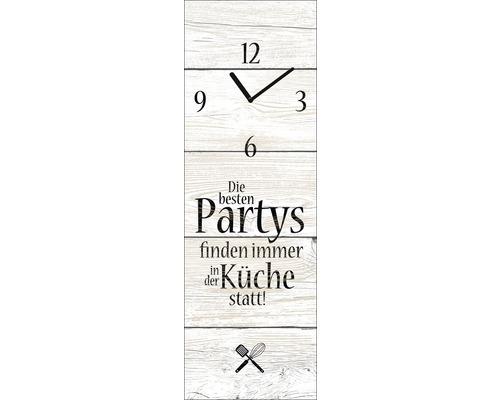 Horloge murale en verre «Die Besten Partys finden in der Küche statt» 20x60cm