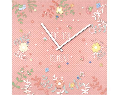 Horloge murale en verre Spring Time II 20x20 cm