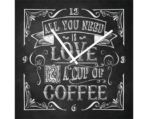 Horloge murale en verre Love & Coffee 20x20 cm