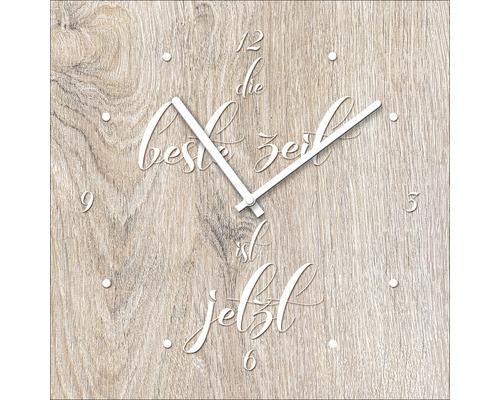 Horloge murale en verre «Die Beste Zeit Ist Jetzt» 20x20cm