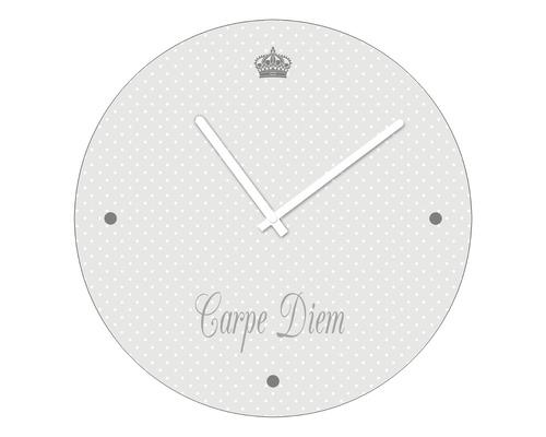Horloge murale en verre Carpe Diem Ø 20 cm