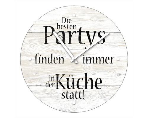 Horloge murale en verre «Küchepartys» Ø20cm