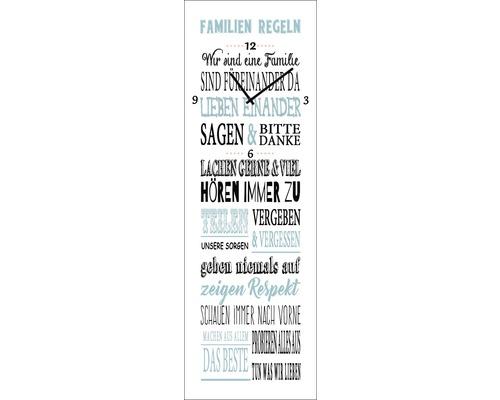 Wanduhr Glas Familienregeln I 20x60 Cm