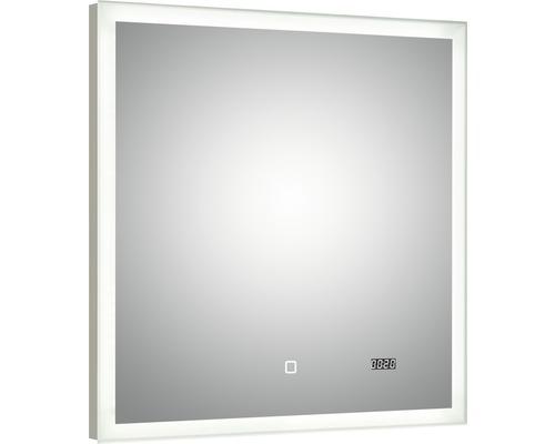 LED Badspiegel mit Uhr pelipal Filo Rustico 70x70 cm IP44