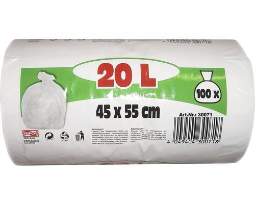 Sac-poubelle blanc 20 l 100 pièces