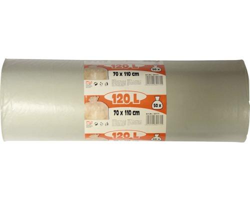 Sac-poubelle transparent 120 l 50 pièces