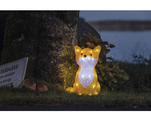 Renard acrylique Konstsmide 32 LEDs H 27 cm