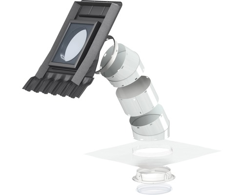 Spot lumière du jour VELUX TWR 0K10 pour toit incliné avec matériaux de recouvrement profilés 36x36 cm avec tube rigide