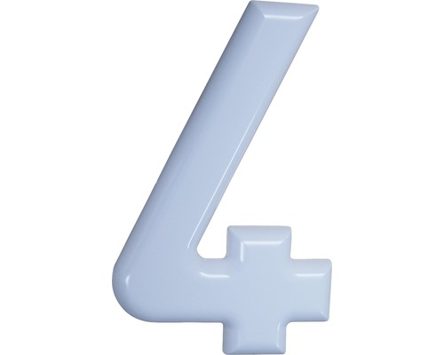 Hausnummer 4 Nylon weiß