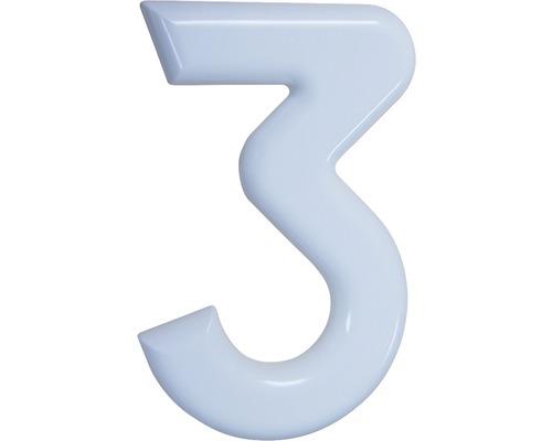 Hausnummer 3 Nylon weiß