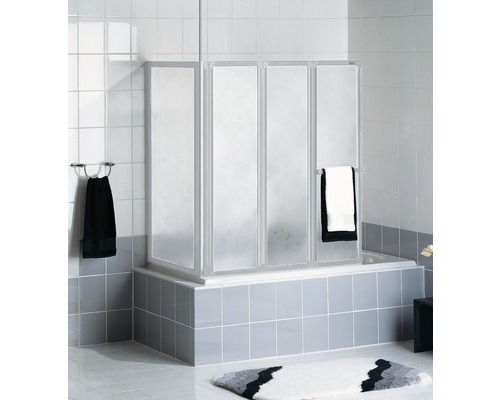 Pare-baignoire Schulte 3 pièces avec paroi latérale Décor Softline claire blanc alpin avec porte-serviettes