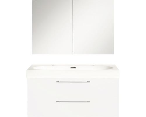 Ensemble de meubles de salle de bains Somero haute brillance blanc 100x57cm avec armoire à glace-0