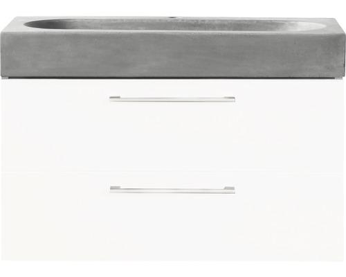 Ensemble de meubles de salle de bains Somero haute brillance blanc/lavabo béton 60x57cm-0