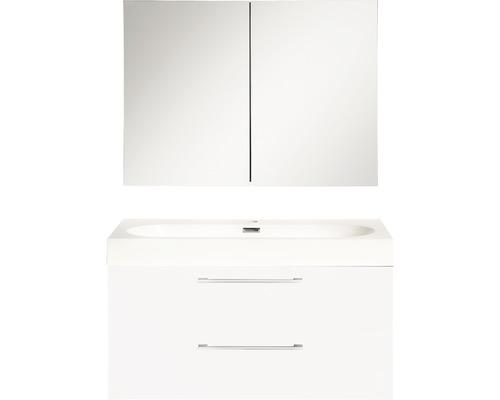 Ensemble de meubles de salle de bains Somero haute brillance blanc 80x57cm avec armoire à glace-0