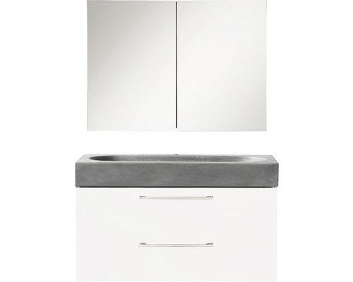 Ensemble de meubles de salle de bains Somero haute brillance blanc/lavabo béton 80x57cm avec armoire à glace-0