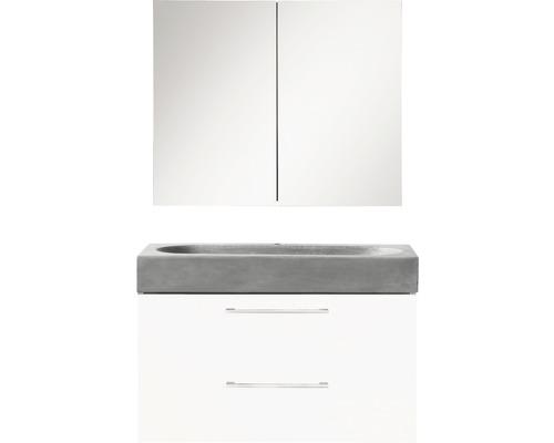 Ensemble de meubles de salle de bains Somero haute brillance blanc/lavabo béton 60x57cm avec armoire à glace-0