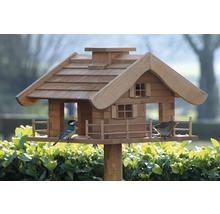 Abri-mangeoire pour oiseaux en forme de refuge de montagne avec pied 66x66x136,5 cm-thumb-5