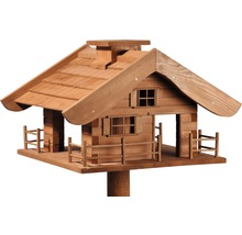 Abri-mangeoire pour oiseaux en forme de refuge de montagne avec pied 66x66x136,5 cm-thumb-1