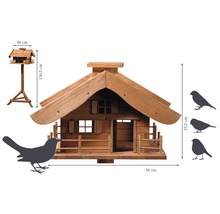 Abri-mangeoire pour oiseaux en forme de refuge de montagne avec pied 66x66x136,5 cm-thumb-4