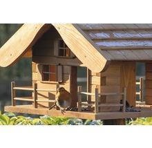 Abri-mangeoire pour oiseaux en forme de refuge de montagne avec pied 66x66x136,5 cm-thumb-6