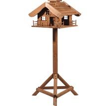 Abri-mangeoire pour oiseaux en forme de refuge de montagne avec pied 66x66x136,5 cm-thumb-0