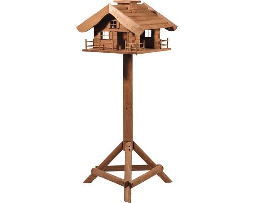 Abri-mangeoire pour oiseaux en forme de refuge de montagne avec pied 66x66x136,5 cm