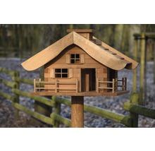 Abri-mangeoire pour oiseaux en forme de refuge de montagne avec pied 66x66x136,5 cm-thumb-3