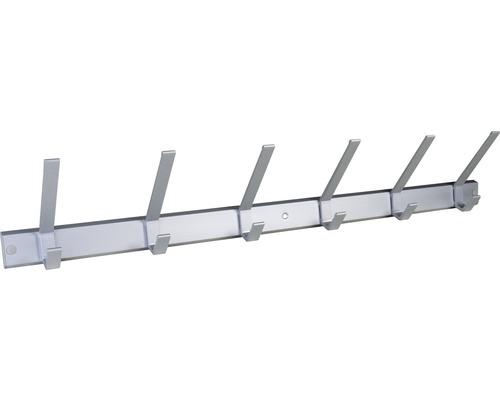 Portemanteau aluminium 6crochets anodisé 690mm