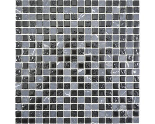 Mosaïque en verre Crystal avec pierre naturelle griscm M465 30x30cm gris/noir