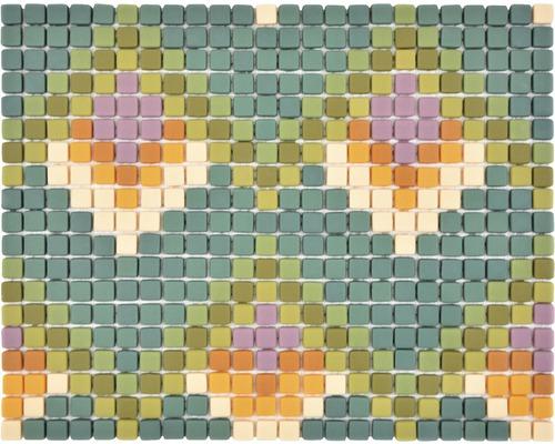 Mosaïque en verre Cuba MC2 31,10x24,60cm mix vert mat