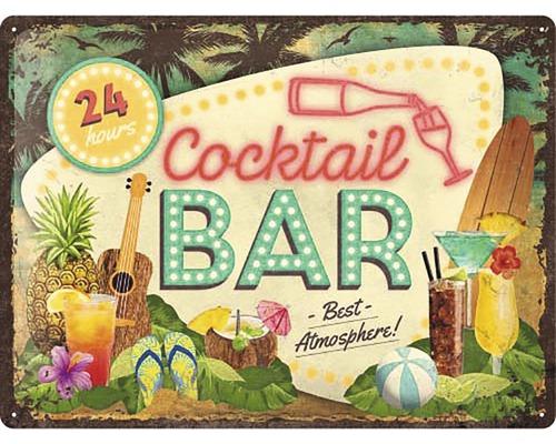 Plaque en tôle Cocktail Bar 30x40cm